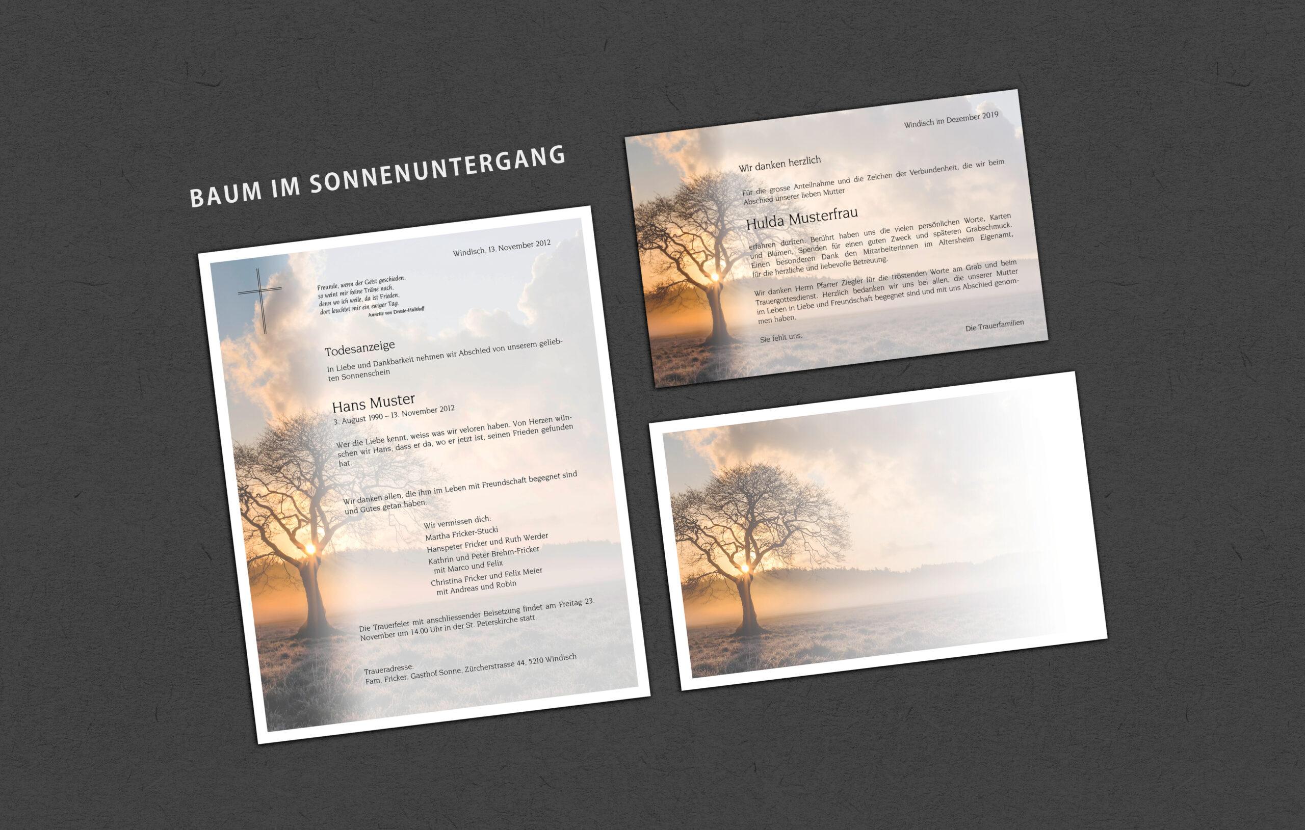 Muster_Sujet Baum im Sonnenuntergang